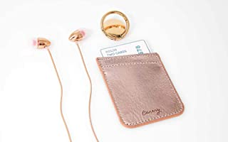 Casery Gift Set - Gold Phone Ring - Rose Gold Phone Pocket - Rose Gold Earbuds - Compatible with iPhone 7, 8, 8 Plus, X, XR, XS MAX, and More