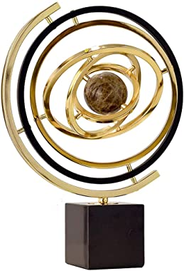 QERNTPEY-OP Globe World Globe Spinning Globe for Kids Marble Metal Globe Study Office Decoration Living Room Home for Home and Office Decoration (Color : Gold, Size : 35x10x43cm)
