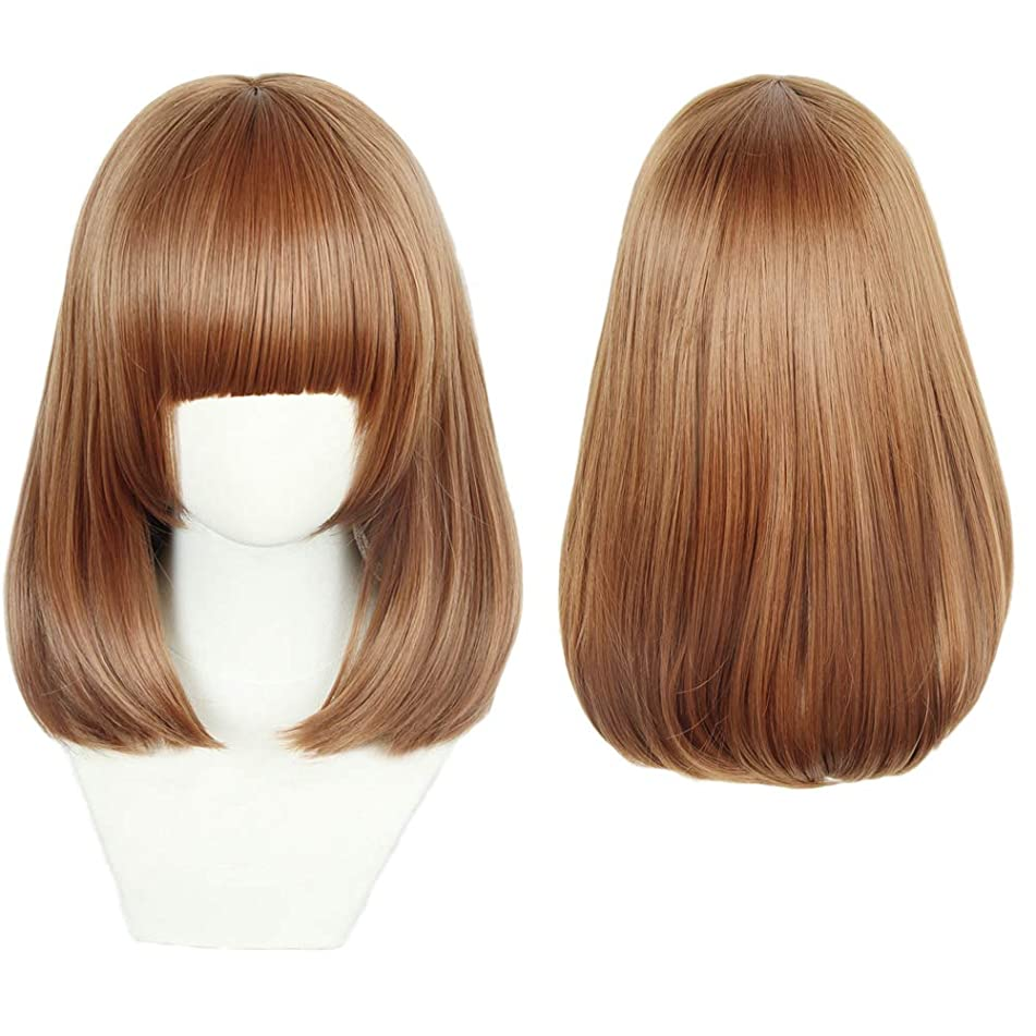 Brown Bob Anime Cosplay Wig Heat Resistant Wigs Girl's Party Fashion XMAS Halloween Costume