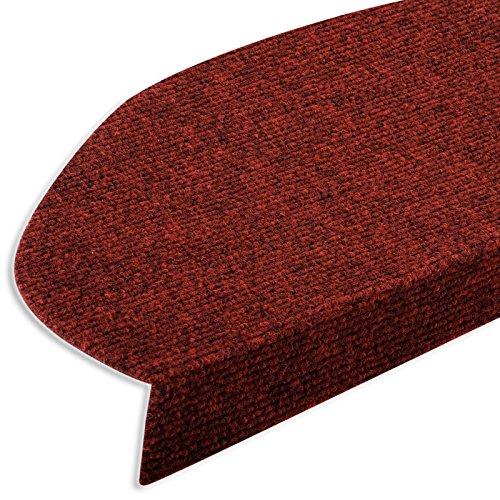 casa pura® Textilfaser - Stufenmatten für attraktive & sichere Treppenstufen | 15 Stück | rot