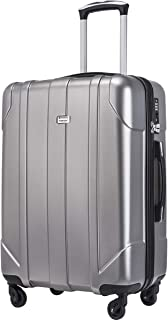 Hardside Spinner Luggage with Built-in TSA Lock Lightweight Suitcase 20inch 24inch and 28 inch Available (Gray, 24-Checking in)