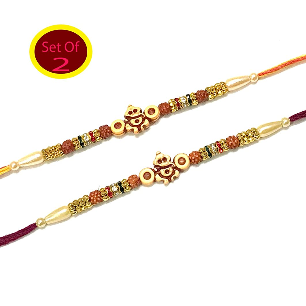 Set of Two Ganesh with 4 Rudraksha Rakhi for Brother Bhai Bhaiya with Beads and Multi Color Stone Raksha Bandhan Traditional Rakhee for Kids Indian Hindu Festival (Thread Multi Color)