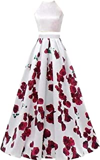 Women's Long Evening Prom Dress for Formal Gown W/ Pocketsrint Floral