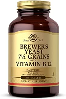 Solgar Brewer's Yeast 7 ½ Grains with Vitamin B 12, 250 Tablets - Rich Source of Amino Acids, B-Complex Vitamins Including...