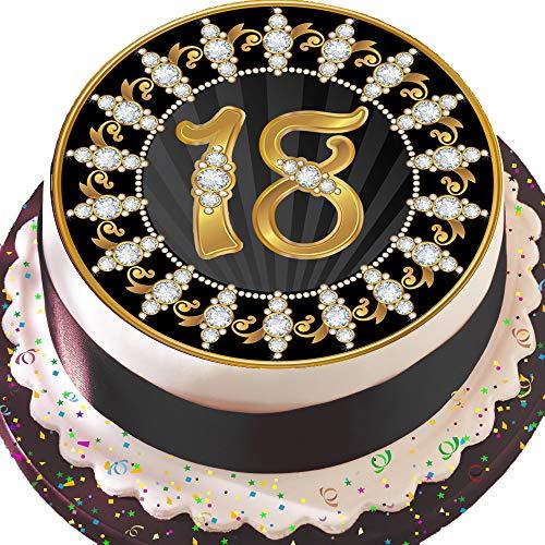 vorgeschnittenen essbare Deko-silikonformkuchendekoration, 19,1cm Runder Tortenaufsatz, schwarz und gold 18. Geburtstag Z19