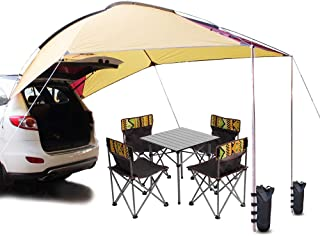PlayDo Waterproof Teardrop Trailer Awning Portable Car SUV Awning Tent Sun Shelter Canopy for Camping 4 Persons