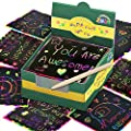 ZMLM Rainbow Scratch Mini Art Notes - 125 Magic Scratch Note Off Paper Pads Cards Sheets for Kids Black Scratch Note Arts Crafts DIY Party Favor Supplies Kit Birthday Game Toy Gifts Box for Girls Boys from ZMLM