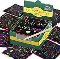 ZMLM Rainbow Scratch Mini Art Notes - 125 Magic Scratch Note Off Paper Pads Cards Sheets for Kids Black Scratch Note...