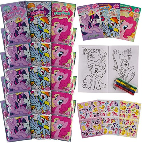 Set Of 15 Teenage My Little Pony Play Packs Fun Party Favors Coloring Book Crayons Stickers