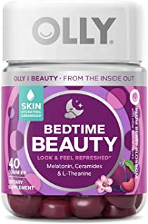 Olly Bedtime Beauty Sleep Gummy Supplement, Plum Berry, with Melatonin, Ceramids and L-theanine, Plum Berry Blossom, 40 Count