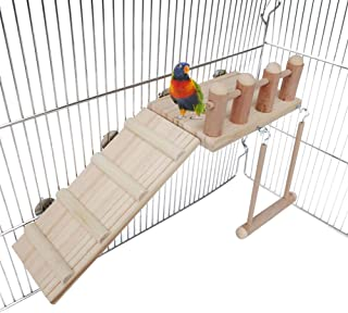 Bird Perches Cage Toys Bird Wooden Play Gyms Stands with Climbing Ladder,  Parrot Play Stand and Bird Swing Conure for Green cheeks,  Baby Lovebird,  Chinchilla,  Hamster,  Bird Cage Chewing Toys Sets