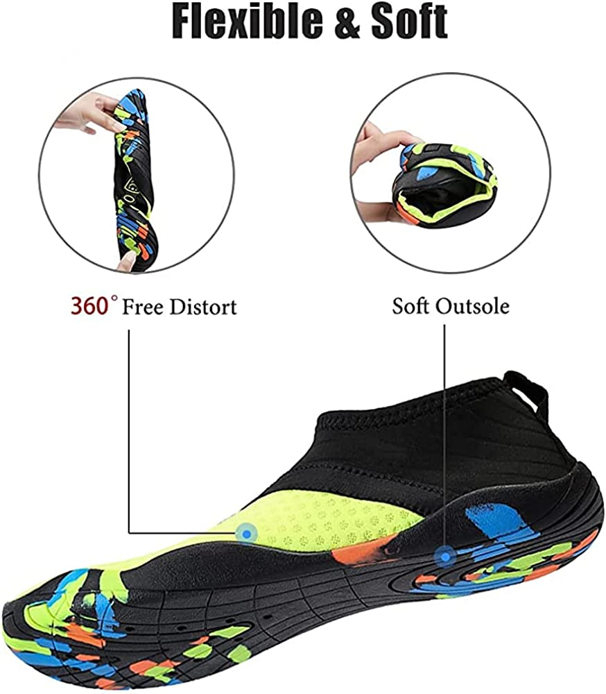 Water ShoesMens WomensQuick Dry Water Shoes Summer Barefoot Aqua Sneakers Slip-on for Beach Swim