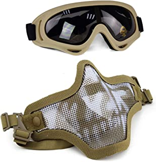 Aoutacc Airsoft Mask and Goggles Set, Half Face Full Steel Mesh Mask and Goggles for CS/Hunting/Paintball/Shooting