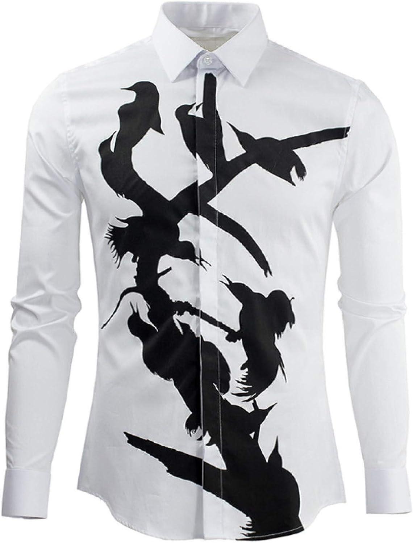 HOSD Nueva Rama pájaro Camisa Camisa de Hombre Arte Camisa de Hombre