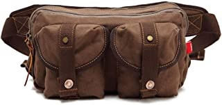 Multifunction Outdoor Sport Waist Pack, Men's Leisure Chest Bag Large Capacity Canvas Riding Bag for Outdoor Sports, Running, Cycling Trip, Mountaineering Etc (Size: 26 * 8 * 15cm) (Color : Brown)