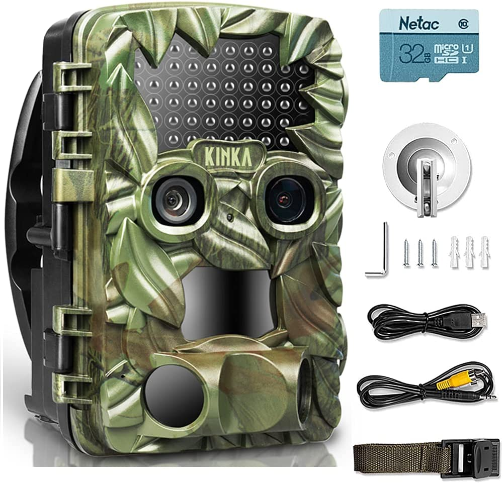 KINKA-Dual Lens Trail Camera for Hunting with 32GB SD Card, Waterproof Scouting Camera for Outdoor Wildlife Monitoring