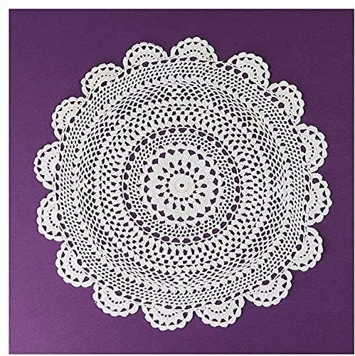 Tovaglia all'uncinetto, lavorata a maglia, sottobicchiere, in stile vintage, 100% cotone, 30 cm, rotonda, ecru