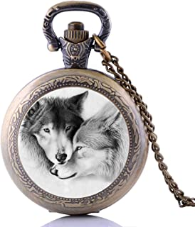 Creative Antique Punk Lovely White Wolf Mens Kids Womens Boys Quartz Pocket Watch Necklace Chain Pendant Christmas Gifts