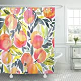 Emvency Duschvorhang, bunt, pfirsichfarben, mit Handarbeit, Wasserfarben, Pfirsichfarben, stilvolles Obst-Design, Orange Aprikose, wasserdichtes Polyestergewebe, 183,9 x cm, Set Haken
