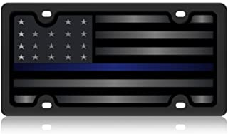 Eurosport Daytona- Compatible with- Thin Blue Line Carbon Steel License Plate- Blacked Out Monochromatic USA Flag- Police Lives Matter