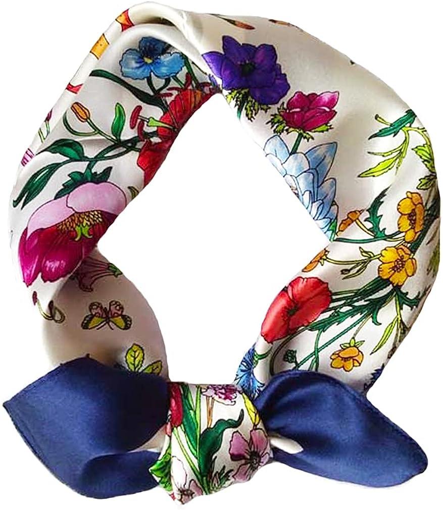 Women's 100% Pure Mulberry Silk Small Square Scarf - Neckerchief Women - Silk Headscarf - 21