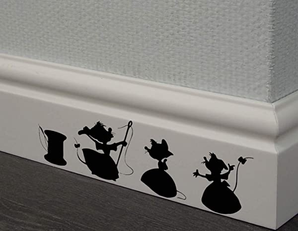 REDIN STORE Cinderella 3 Mice Decal Disney Home Decor Disney Wall Decal Disney Wall Sticker Kids Wall Decal Kitchen Decal Skirting Board Decals
