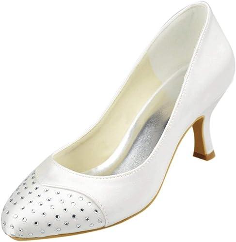 ZHRUI Chaussures de Mariage (Couleuré   blanc-6.5cm Heel, Taille   5 UK)