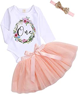 My First Birthday Baby Girl Clothes One Flower Romper+ Peach Pink Bowtie Tulle Skirt Outfits Autumn