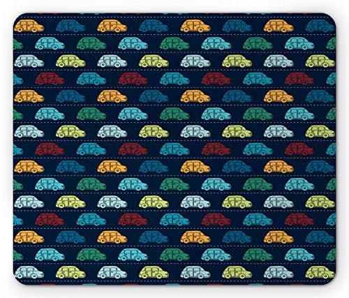 Alfombrilla de ratón Cars, Mini vehículos Antiguos en la Carretera Vibrantes, Alfombrilla de Goma Rectangular, Azul Oscuro Aqua Mostaza