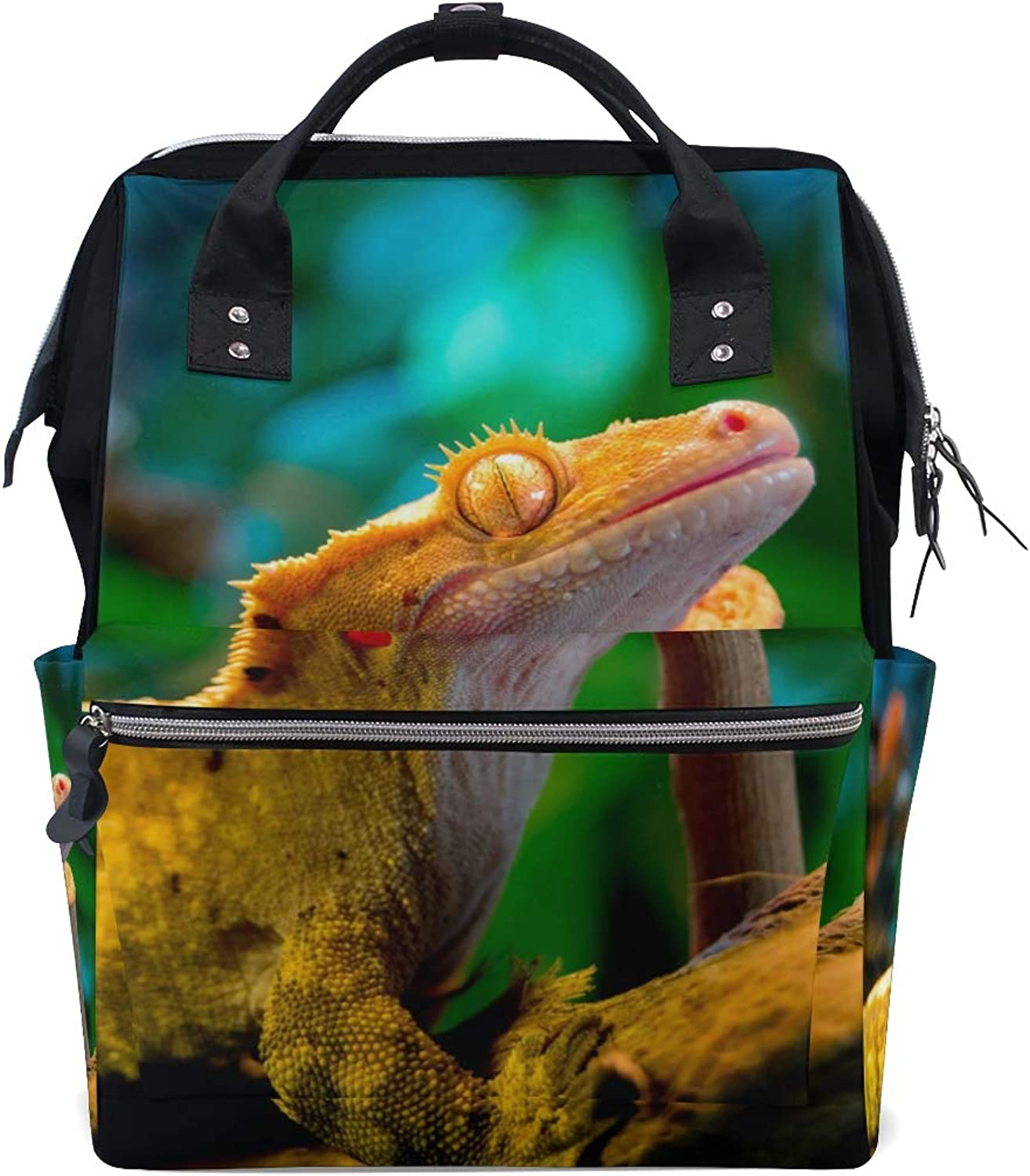 MONTOJ Awesome Reptile Gecko Lizard Canvas Travel Bag Campus Backpack