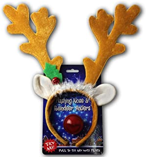 Sponsored Ad - Christmas Reindeer Antlers Headband w Light Up Nose Costume Outfit - One Size Fits All