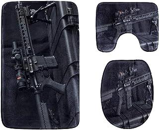 Gun Enthusiasts'rifles Bathroom Rug Mats Set 3-Piece,Soft Shower Bath Rugs,Contour Mat and Toilet Seat Lid Cover Non-Slip ...