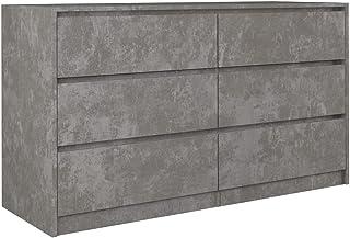 ADGO Karo K140 Commode avec 6 tiroirs 138x75x40cm, armoire classique avec étagères pour chambre à coucher, couloir, salon,...