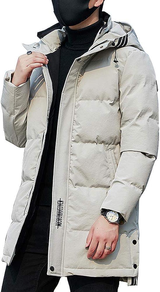 Down Jacket Men's Medium Long Winter Coat in Cotton Jacket, Warm Thicken Hooded, Padding: Imitation Silk Cotton (Size: M, L, XL, 2XL, 3XL, 4XL) Gray