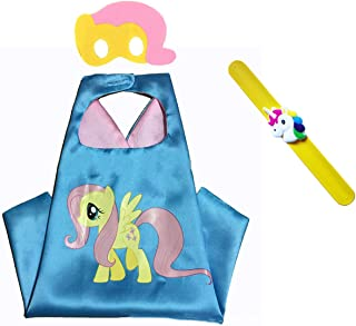 My Little Pony Costume Set—Cape, Mask and Pops Bracelet for Age 4-10 Kids