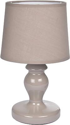 HOMEA 6LCE080TA LAMPE, CERAMIQUE, 40 W, TAUPE, L.18l.18H.29.5CM