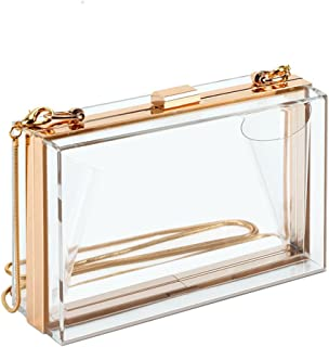 Clear Purse Bag Stadium Approved Acrylic Crossbody Box Clutch for Women, Transparent Shoulder Handbag for School Prom, Work, Sporting Events, Fest & Concert with Removable Gold Chain Strap