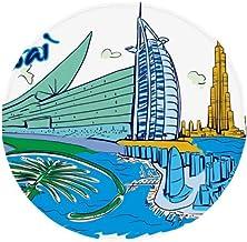 DIYthinker United Arab Emirates Dubai Watercolor Anti-Slip Floor Pet Mat Round Bathroom Living Room Kitchen Door 80Cm Gift