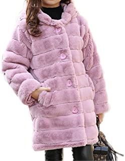 Big Girl's Long Warm Winter Faux Fur Coat Thicken Jacket with Hooded