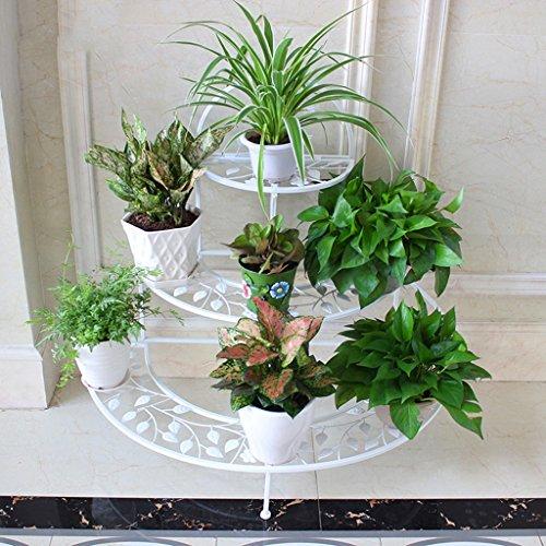 $Etagère d'exposition Stand de fleur en fer forgé Stand de fleur Terrasse Balcon Intérieur en fer forgé Cadre Multi-couche Pied de sol ( Couleur : A )