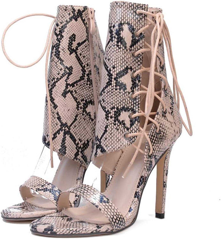 Kyle Walsh Pa Women Sandals Pumps Snake Print Lace-up Open Toe Ladies Classic Fashion shoes