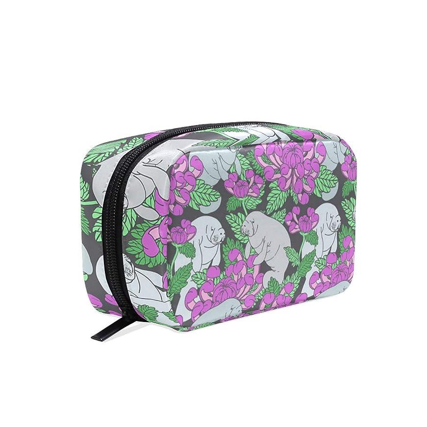 身元私たちのおばさんジュゴン 花柄 化粧ポーチ メイクポーチ 機能的 大容量 化粧品収納 小物入れ 普段使い 出張 旅行 メイク ブラシ バッグ 化粧バッグ