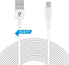 16.4FT Power Extension Cable for WyzeCam,WyzeCam Pan,YI Camera,NestCam Indoor,Netvue,KasaCam Indoor,Furbo Dog,Blink,Amazon Cloud Cam etc,USB to Micro USB Data Sync Charging Cord for Security Camera