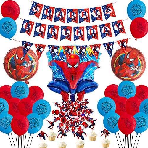 Spiderman Party Decorations Favors Birthday– Spiderman Happy Birthday Banner, Foil Latex Balloons, Cupcake Toppers, Stickers - Avengers Superhero Birthday Party Supplies