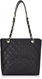CHANEL Black Quilted Caviar Petite Shopping Tote (PST) (Pre-Owned)