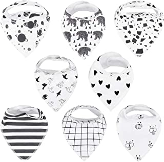 Baby Bandana Drool Bibs for Drooling and Teething, 100% Organic Cotton,Soft and Absorbent Bibs for Baby Boys and Girls,Unisex 8-Pack Toddler Shower Gift Set by Tasera,Black