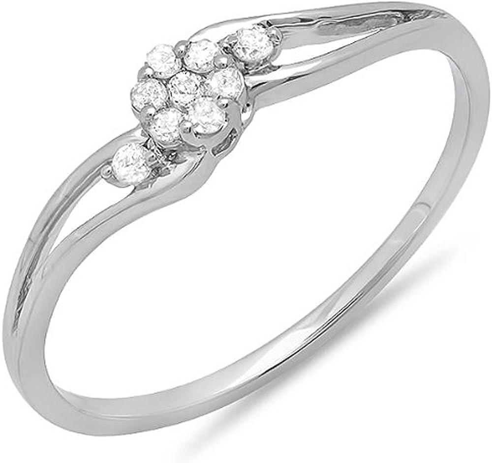 Dazzlingrock Collection 0.10 Carat (ctw) 10k Round Diamond Bridal Swirl Split Shank Cluster Promise Ring 1/10 CT, White Gold