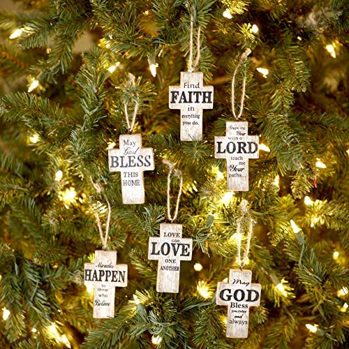 The Lakeside Collection Faith, Love and God Sentiment Wooden Cross Ornaments - Set of 6
