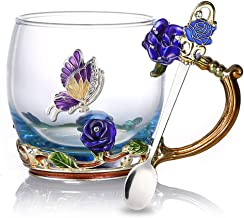Tea Cup Glass Coffee Mugs Enamel Rose Flower Butterfly Drinking Cups with Spoon Set Unique Gifts for Birthday Wedding Christmas Blue Rose Mug 12oz