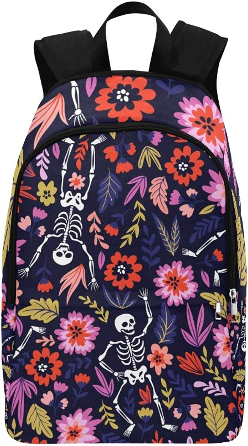 Dancing Skeletons Floral Garden Holiday Casual Daypack Travel Bag College School Backpack for Mens and Women